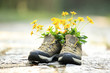 flowers and hiking boots on trail