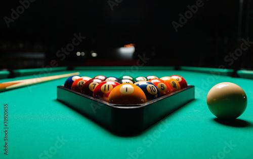 Tableau sur Toile Billiard balls in a pool table.