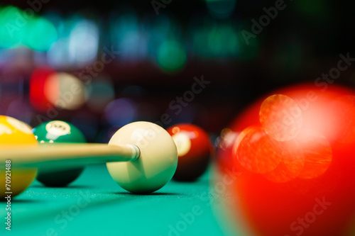 Fotografie, Obraz  Billiard balls in a pool table.