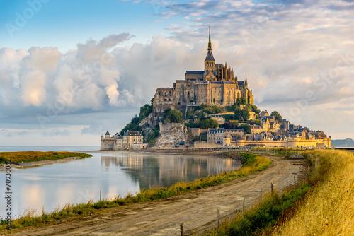 fototapeta na drzwi i meble Rano widok na Mont Saint-Michel