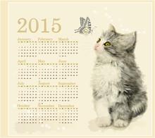Calendar 2015 With Fluffy Kitt...