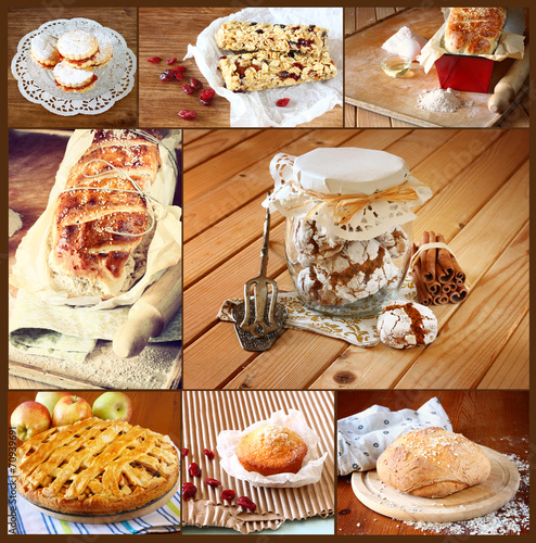 Foto op Aluminium Picknick homemade baking collage with cookies, fresh bread, apple pie and