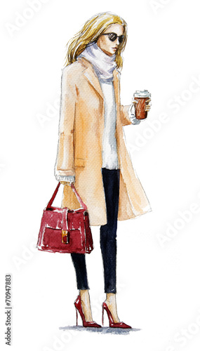 fashion illustration of a blond girl in a coat