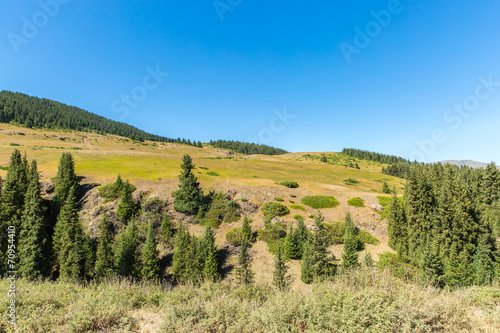 Poster Khaki Assy plateau in Tien-Shan mountain in Almaty, Kazakhstan