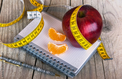 Photo Measuring tape wrapped around a apple weight loss photo