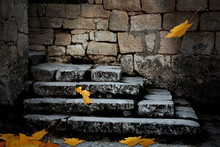 Old Stone Staircase With Falle...