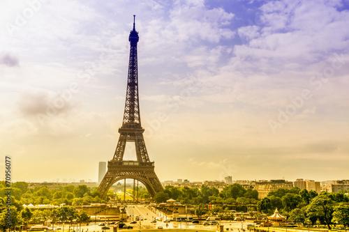 Aluminium Prints Paris Panoramic view of Eiffel tower
