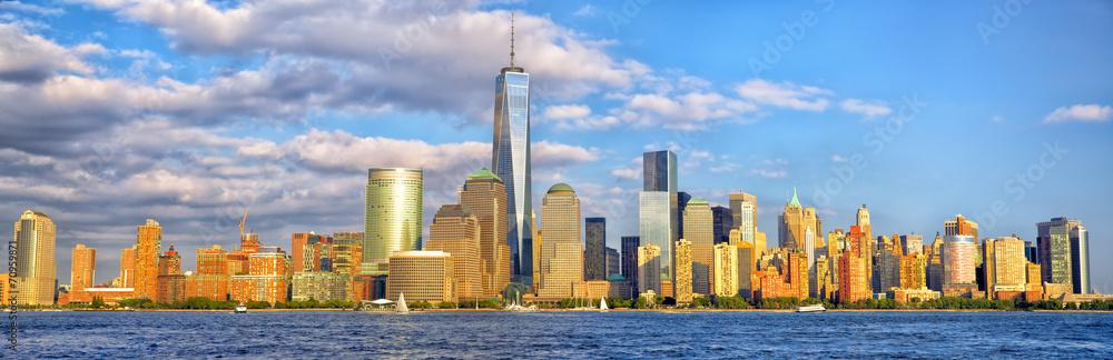 Fototapety, obrazy: Lower Manhattan skyline panorama before sunset, New York