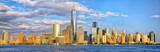 Fototapeta Nowy Jork - Lower Manhattan skyline panorama before sunset, New York