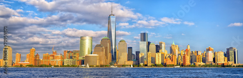 Lower Manhattan skyline panorama before sunset, New York #70959871