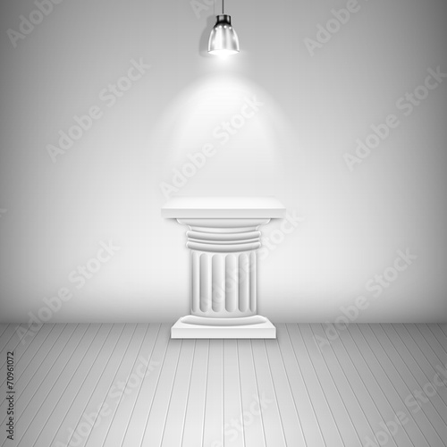 Fotografie, Obraz  Illuminated Blank Pedestal In Gallery.