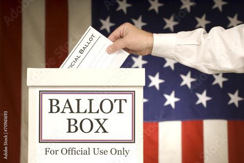 Valokuvatapetti Ballot Box With Hand Voting