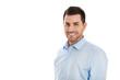 canvas print picture - Erfolgreicher junger lachender Geschäftsmann isoliert in Blau