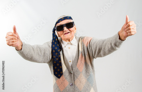 bohemian grandma with a tie on her forehead Poster