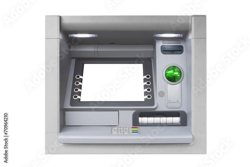 Obraz na plátne Silver isolated ATM with blank screen