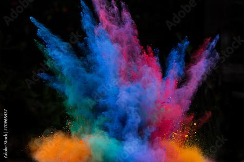 Fotografie, Obraz  launched colorful powder over black