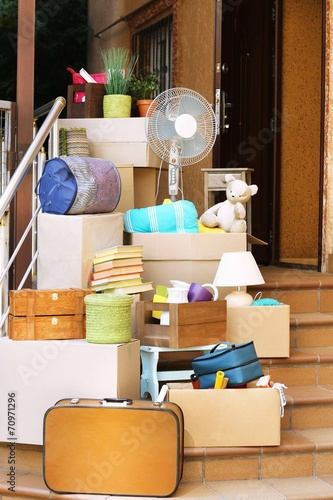 Moving Boxes On Stairs Of New House Outdoors Buy This Stock Photo