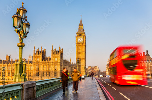 Foto op Canvas Londen rode bus Big Ben and red double-decker bus, London