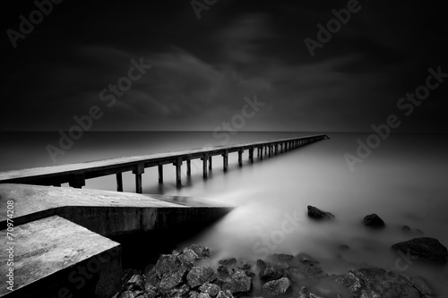Fotografie, Obraz  Jetty or Pier in black and white