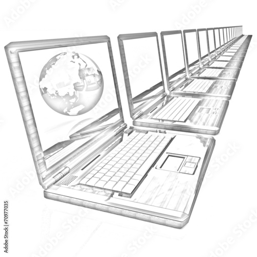 Computer Network Online concept  Pencil drawing - Buy this