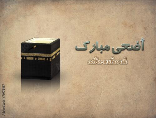 Islamic concept of adha greeting & kaaba