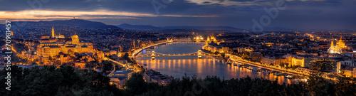 fototapeta na lodówkę Budapest Panorama nocą