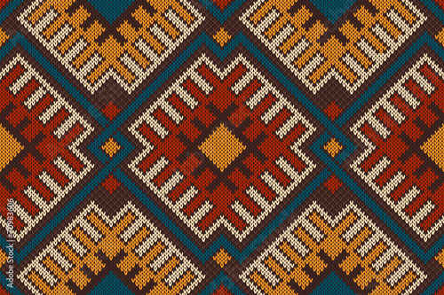 Traditional Tribal Aztec seamless pattern on the wool knitted te Tableau sur Toile