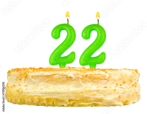 Birthday Cake With Candles Number Twenty Two Isolated On White