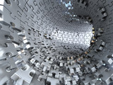 Fototapeta Scene - Tunnel made of metallic puzzles.  Conceptual 3d illustration,