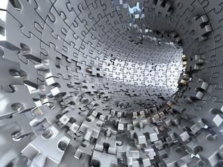 Fototapeta Tunnel made of metallic puzzles. Conceptual 3d illustration,