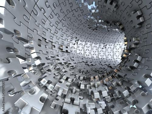 tunel-wykonany-z-metalowych-puzzli-koncepcyjna-ilustracja-3d