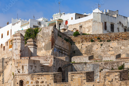 Poster Maroc Ancient fortress and living houses in Medina, old Tangier, Moroc
