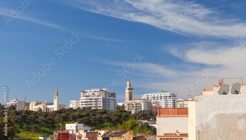Poster Maroc Living houses and mosques. Cityscape of Tangier, Morocco