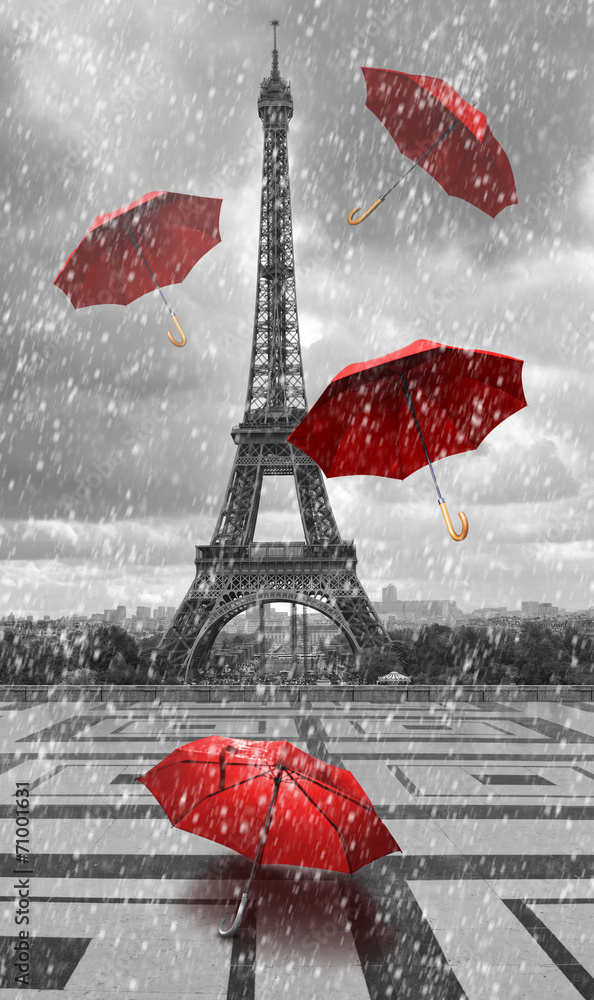 Fototapeta Eiffel tower with flying umbrellas.