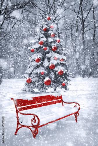 Foto-Leinwand ohne Rahmen - Winter Christmas background. Scene with red element. Concept gra (von cranach)