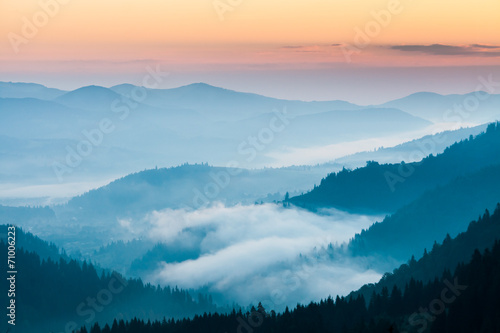 Fotobehang Bergen fog and cloud mountain valley landscape
