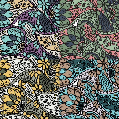 Vector seamless pattern with abstract ethnic flowers