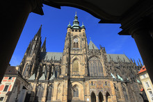 Detail Of The Gothic St. Vitus' Cathedral On Prague Castle