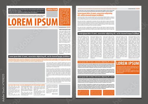 Fotografie, Obraz  Vector empty newspaper print template design