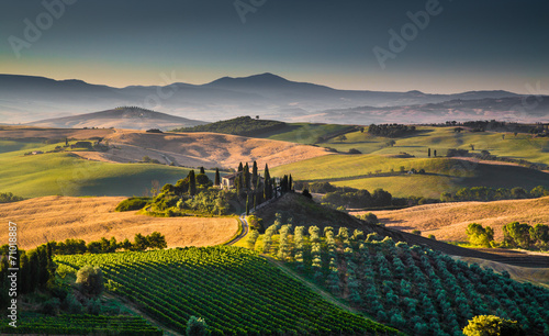 In de dag Toscane Scenic Tuscany landscape at sunrise, Val d'Orcia, Italy