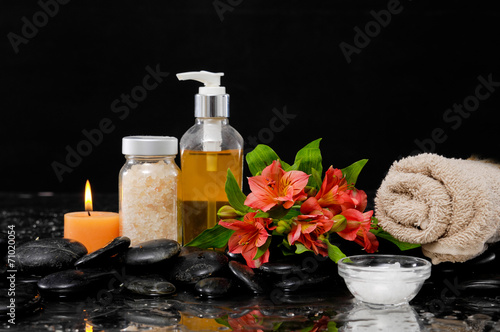 Foto op Canvas Spa Spa Still life with red flower, massage oil