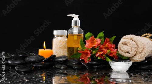 Foto op Canvas Spa Spa still life with red orchid, massage oil,