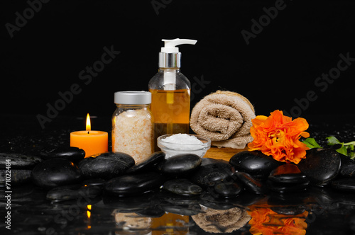 Poster Spa Spa Still life with ranunculus, massage oil,