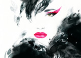 woman portrait  .abstract  watercolor .fashion background - 71023420