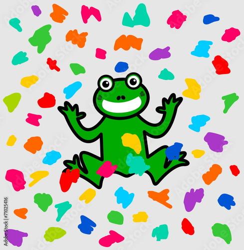 a frog festival under a shower of color
