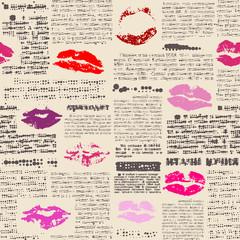 Tapeta Imitation of newspaper with the lips prints