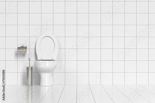 фотография  Geputzte Toilette im WC mit weißen Fliesen