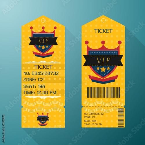 Ticket Design Template Retro Style  Gold VIP Class  - Buy