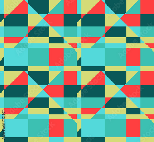 seamless geometric red yellow blue color  pattern background