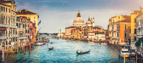 Grand Canal and Santa Maria della Salute at sunset, Venice